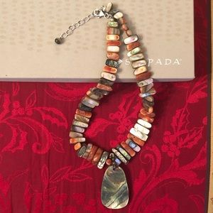 Rare Sterling and Red California Abalone Necklace